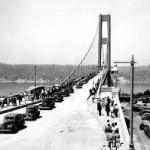 Opening day Tacoma Narrows Bridge July 1, 1940.